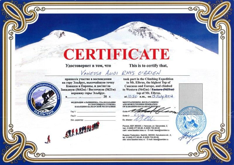 Climbing Certificates - Vanessa O\u0027Brien