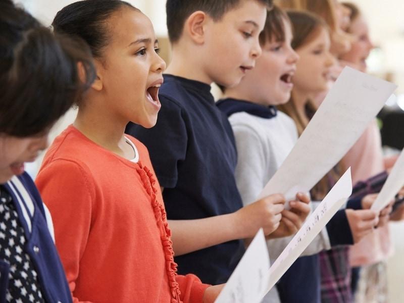 Kids taking music test