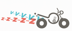 Drawing of a motorbike with voiced fricatives v and z emerging from the exhaust