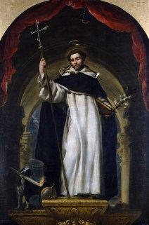 Saint Dominic and a dog with a lighted torch