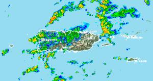 El radar registró fuertes aguaceros sobre varios municipios.