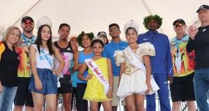 Los ganadores del evento junto a las reinas de las fiestas patronales. (Facebook / Municipio Autónomo de Coamo)