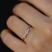 Kataoka | Thin Diamond Cluster 18k Rose Gold Ring at ...