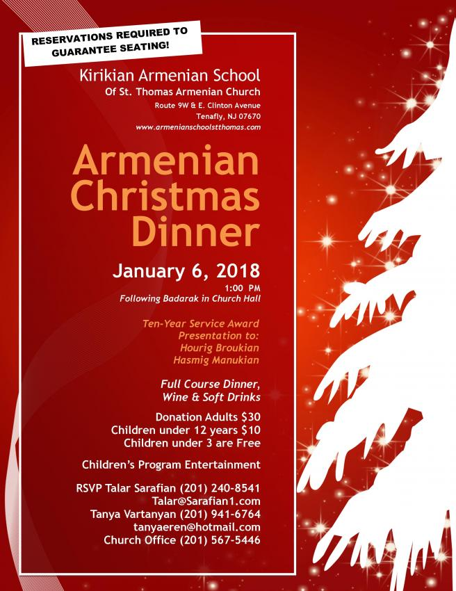 Armenian Christmas Luncheon sponsored by Kirikian Armenian School of - christmas luncheon flyer