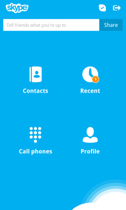 Skype for BlackBerry 10 - Main Menu