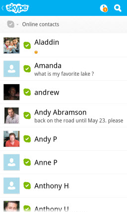 Online Contacts screen