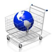 Global shopping concept - 3D cart