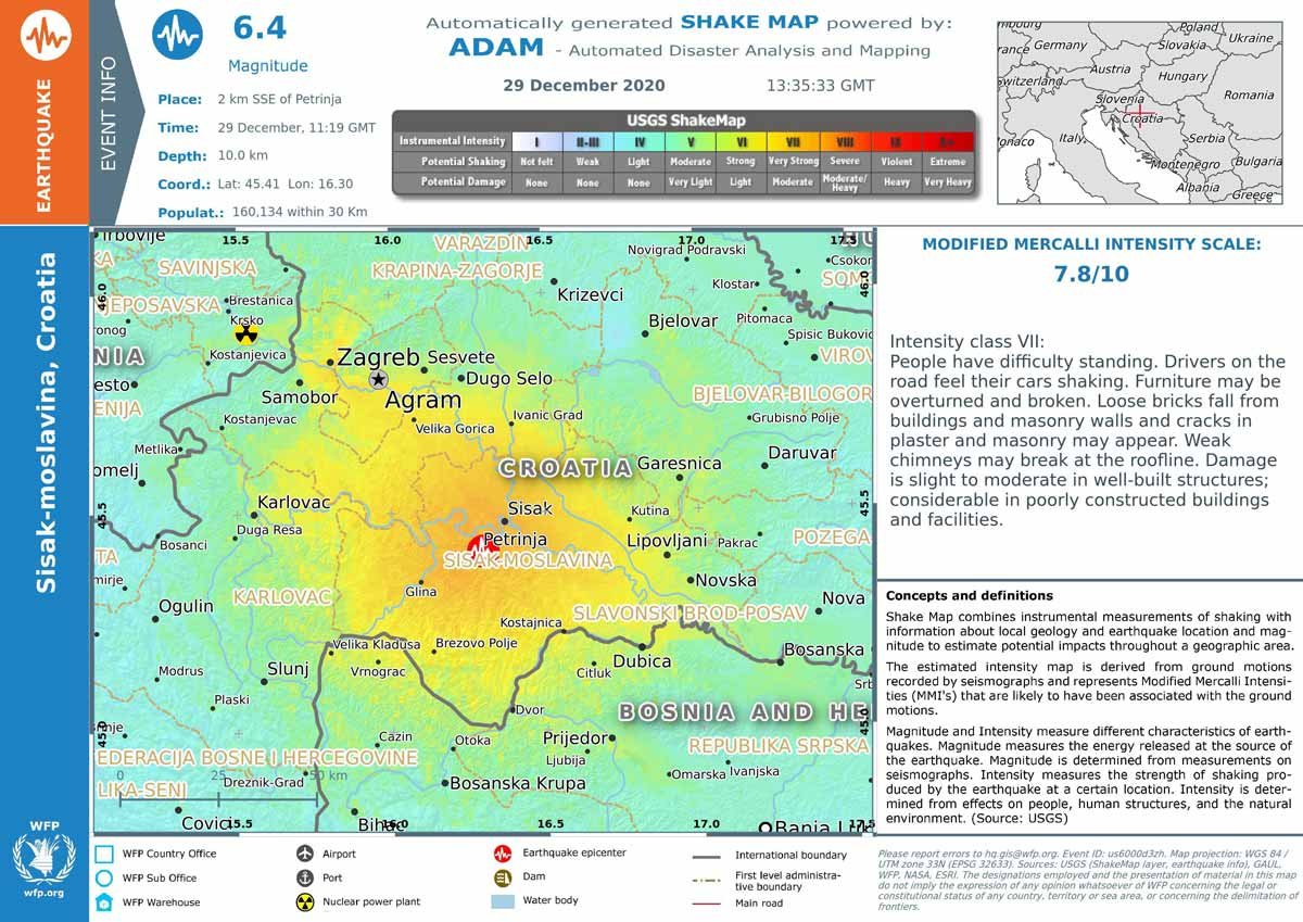 Very Strong Mag 6 4 Earthquake Petrinja Central Croatia On Tuesday 29 Dec 2020 12 19 Pm Gmt 1 5714 User Experience Reports Volcanodiscovery