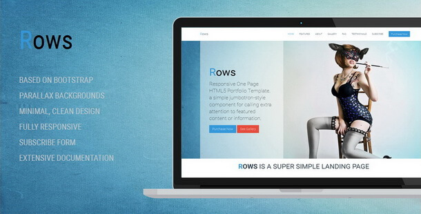 ROWS - Responsive One Page HTML5 Portfolio Template