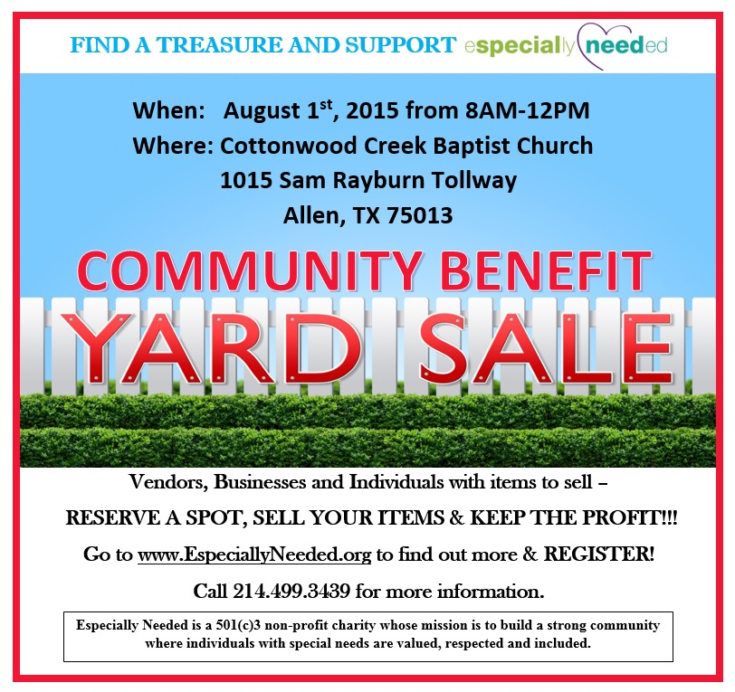 Community Yard Sale Fundraiser - Need Volunteers Volunteer McKinney