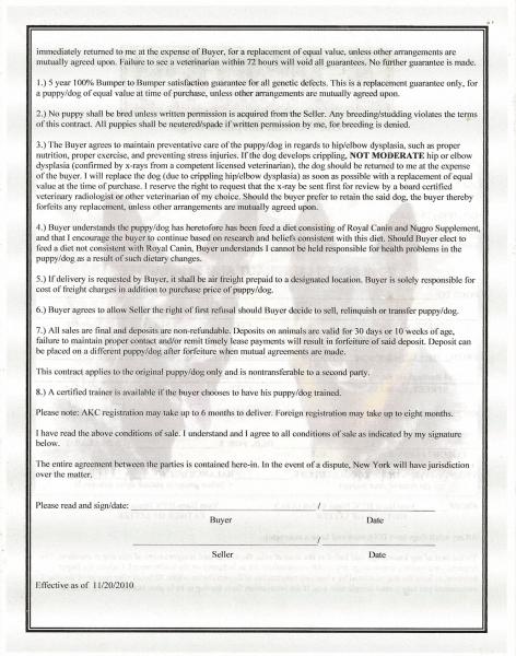 dog sale contract - Alannoscrapleftbehind - puppy sales contract