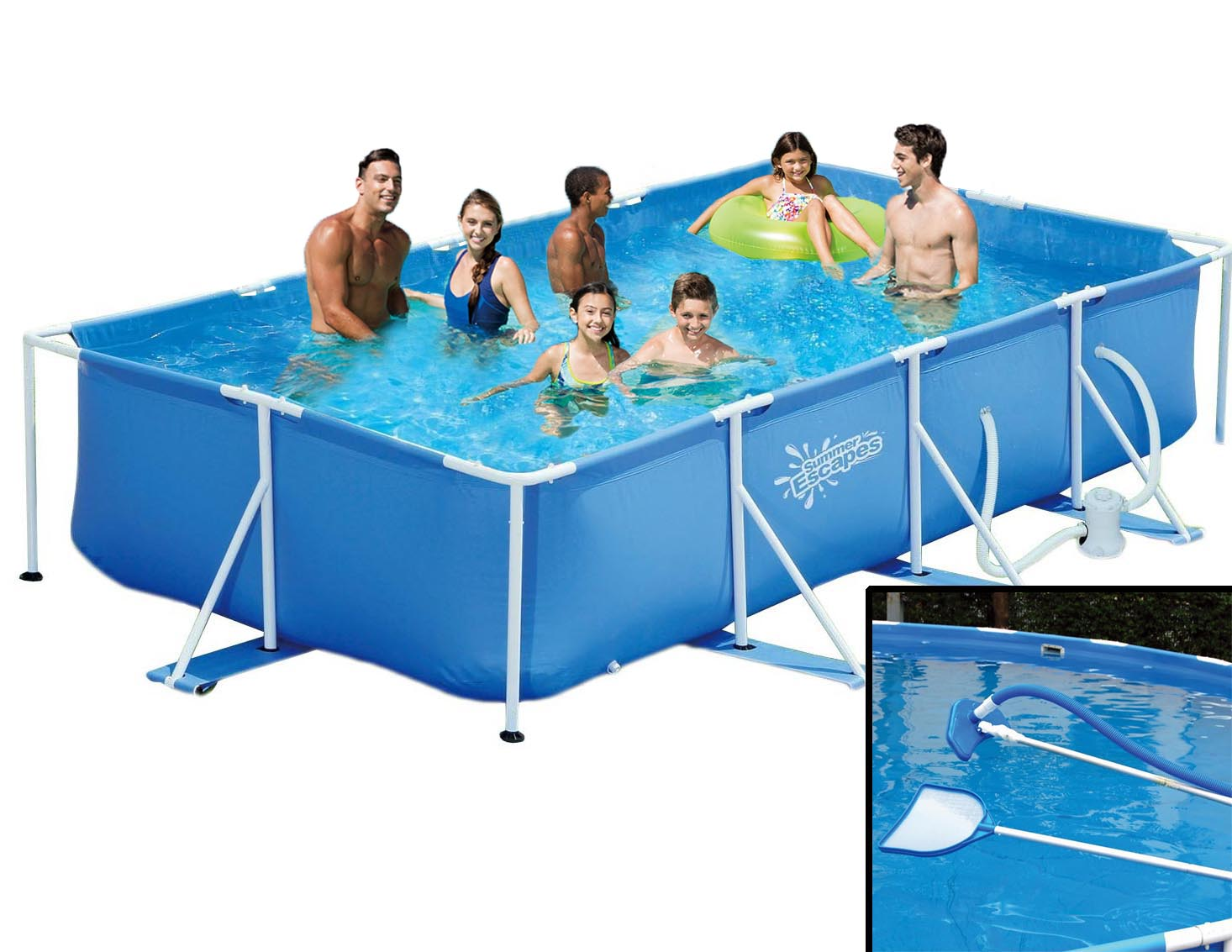 Pool Reinigungsset Video Summer Escapes Frame Pool 427x244x91cm Rahmen Swimming