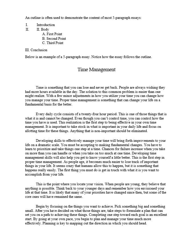 example essay sample