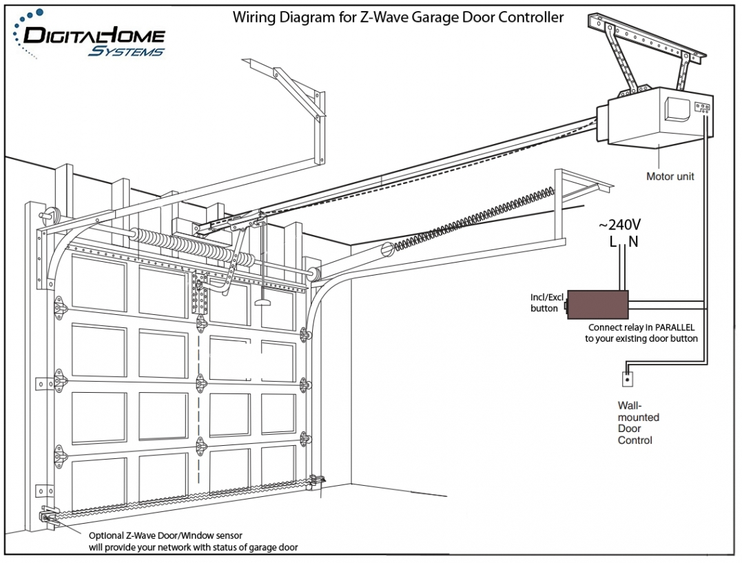 typical garage door opener wiring diagram