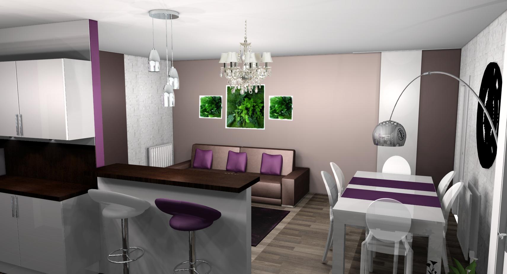 Idee Deco Salon Salle A Manger Noir Et Blanc | Salon Blanc Gris ...