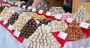 Chocolate sellers are waiting for buyers in fair in Budapest.