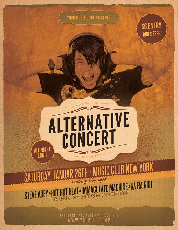 Alternative Concert Flyer Template - Vandelay Design - music flyer template