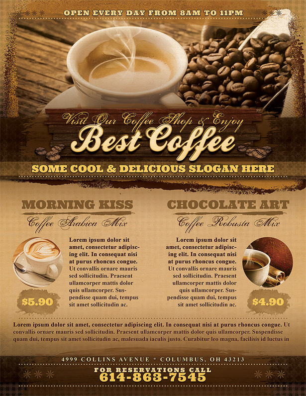 Coffee Shop Flyer Template - Vandelay Design - Flyer Outline