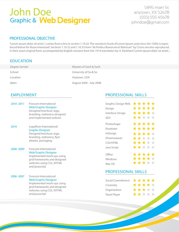 professional resume template microsoft word 2007 job doc 2017 free templates colorful stripes