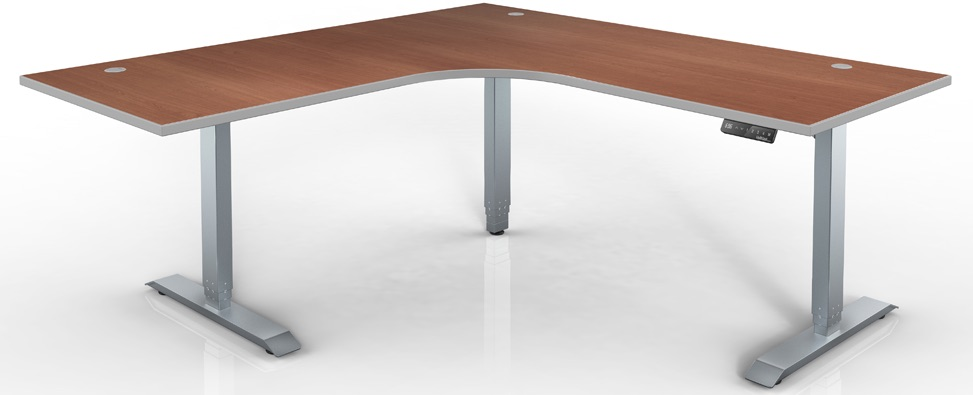 Series L Adjustable Height Single Desk Walnut 57 Hat Electric Height Adjustable Table - 120 Degree Corner