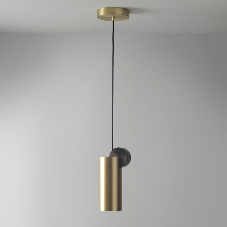 Luminaire Suspension Design Suspension Calée Collection Targeted Lighting Downwards In Satin Brass And Graphite