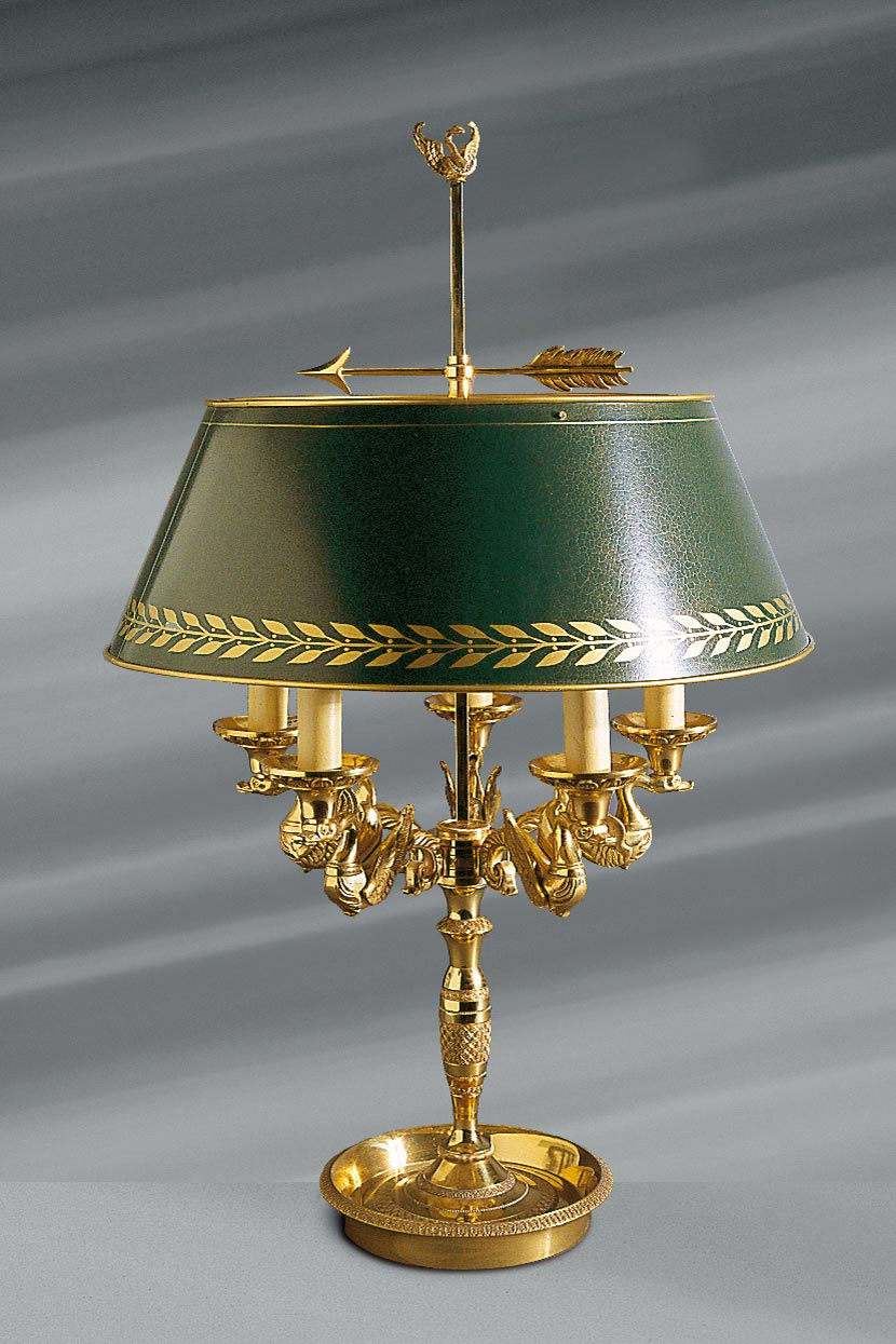 Lampe Gold Patina Old Gold Lamp Adorned With Five Triumphant Swans Bearing Lights