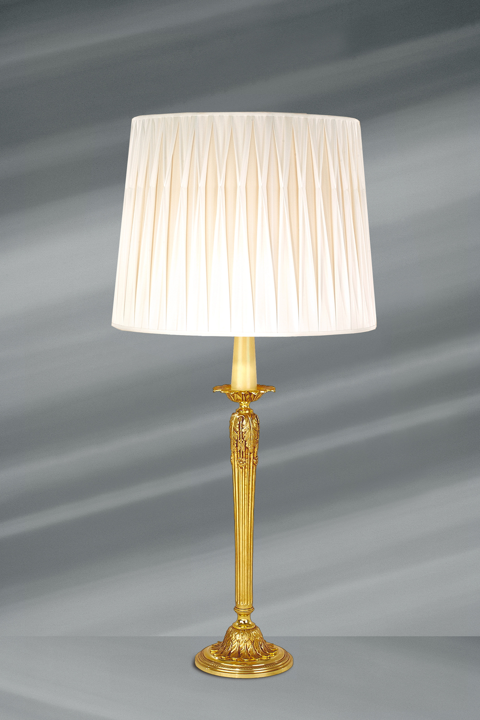 Lampe Gold Large Lamp With Delicately Pleated White Shade Fluted Body Acanthus Leaf Decor Old Gold Finish