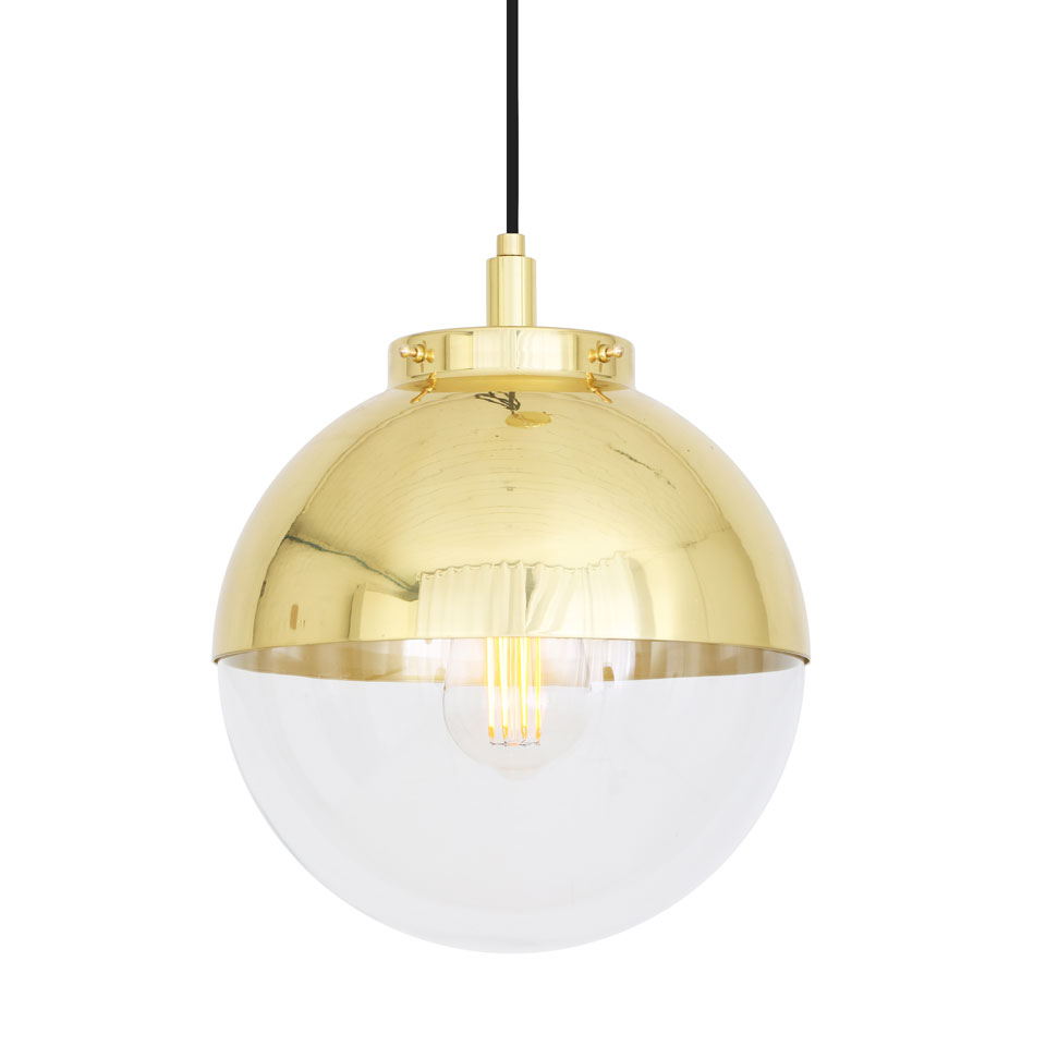 Suspension Contemporaine Suspension Bicolore En Laiton Et Verre Transparent Dorée Ip65 Ampoule Led