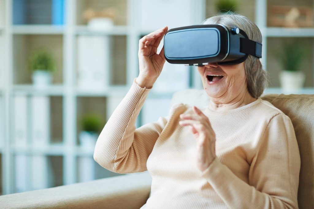 mom uses vr headset for health and therapy