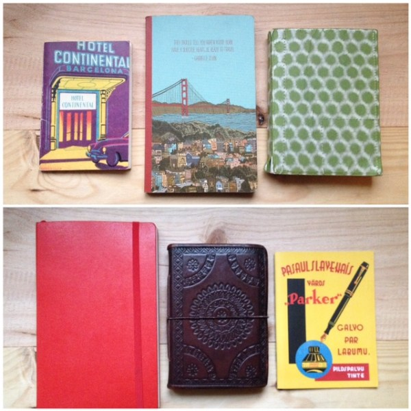 Boekjes, volgeschreven in (vlnr) Thailand, Australië, Ibiza, Spanje, nog Australië en Parijs.