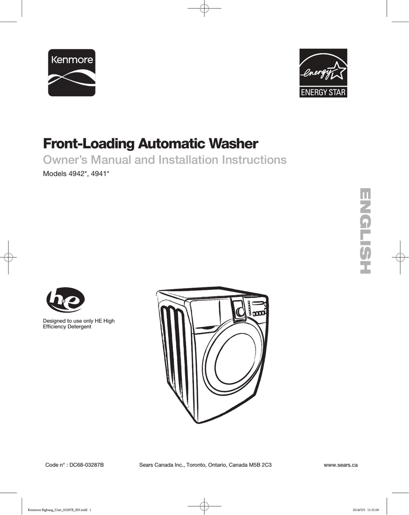 Sears Washer And Dryer Canada Samsung 592 49427 User Manual
