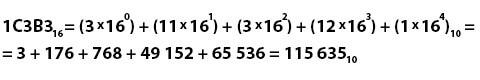 Перевод из шестнадцатеричной системы счисления в десятичную