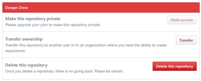 Как удалить репозиторий GitHub