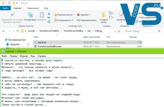 Входной файл с текстом для программы