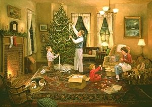 дети и взрослые украшают елку