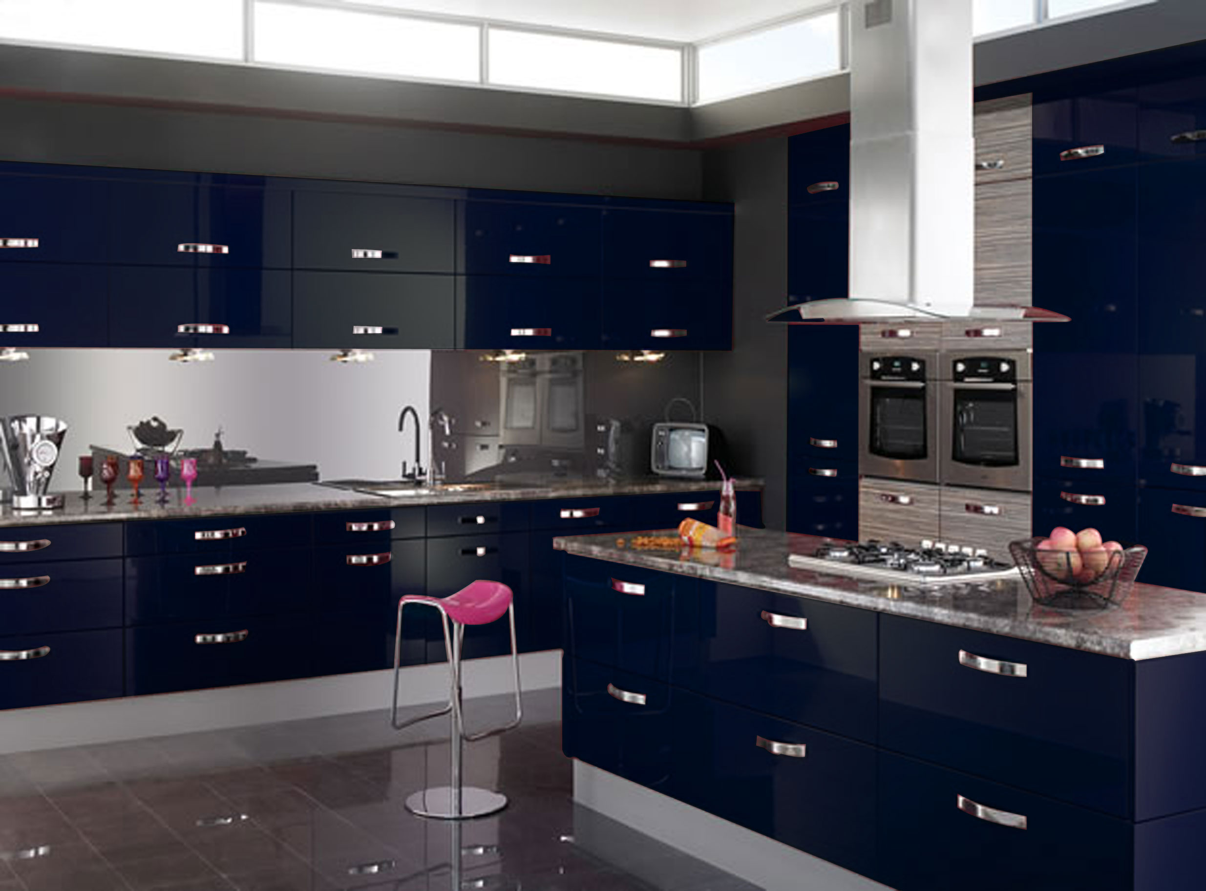 Blue Kitchen Clock Colourful Kitchen Dare To Experiment With Colours