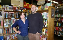 Claire Benedict and her husband, Rob Kasow, owners of Bear Pond Books and Rivendell in Montpelier. Photo by Andrew Stein/VTDigger