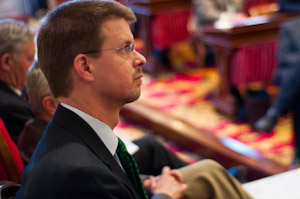 House Speaker Shap Smith listens to the budget address, Jan. 25, 2011. Photo by Josh Larkin