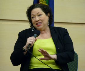 Supreme Court Justice Sonia Sotomayor, the first woman Latino to serve on the high court, spoke at Vermont Technical College in Randpolph Dec. 10, 2011. VTD/Anne Galloway