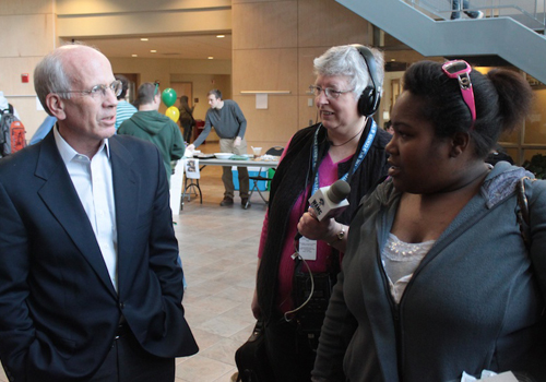 Rep. Peter Welch hears from Leahn Bass about student debt. Bass has about $20,000 in federal student loans.