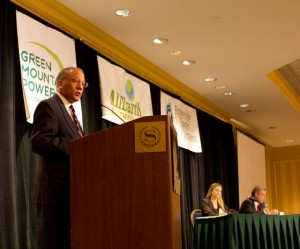 Randy Brock, GOP candidate for governor, speaks at the 2012 Renewable Energy Vermont Conference. Photo by Nat Rudarakanchana