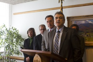 Armando Vilaseca speaks at  the governor's press conference on Jan. 3, 2013. Photo by Nat Rudarakanchana