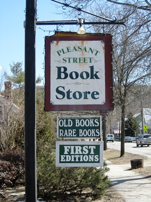 A sign marks the spot of Sonny Saul's antiquarian bookstore in Woodstock. Photo by Nancy Price Graff