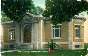 This old postcard showing the exterior of the Fair Haven Free Library captures the distinctive characteristics of Carnegie libraries: columns, large windows, masonry walls, and a generally monumental design, even in a small town. Photograph courtesy of the Vermont Historical Society.