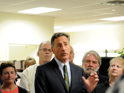 Gov. Peter Shumlin announced Wednesday that $5 million in unemployment insurance tax relief would help 75 Vermont businesses forced to lay off about 300 workers when their operations slowed — or came to a screeching halt — after the storms and flooding of 2011. Companies affected by future natural disasters can receive credit for up to four weeks of unemployment insurance taxes. Photo by Hilary Niles/VTDigger