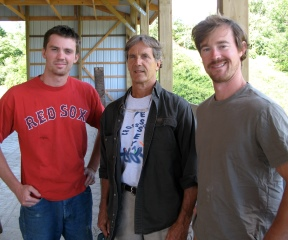 Dairy farmer Tim Leach (center) with two of his sons, Brian (left) and Seth, both of whom are 7th generation Vermonters and work on the Leach's Pawlet farm. Photo by Tom Slayton