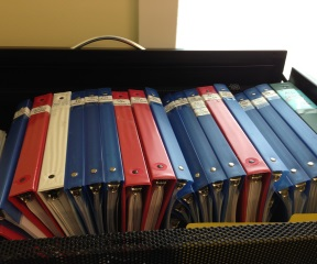 A cabinet full of color-coded files documenting Moretown's infrastructure projects following Tropical Storm Irene sits in the temporary town office, 10 miles from the village. Photo by John Herrick/VTDigger