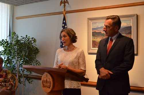 New Vermont Education Secretary Rebecca Holcombe joins Gov. Peter Shumlin at a news conference Thursday in Montpelier. Photo by Viola Gad/VTDigger