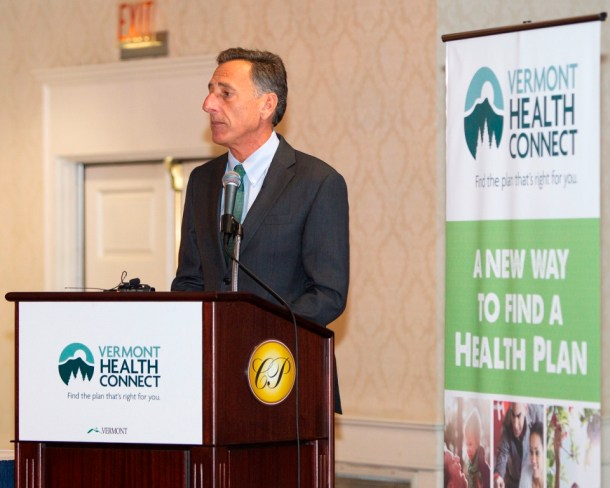 Gov. Peter Shumlin address participants in a Vermont Health Connect forum held at Capitol Plaza  Hotel in Montpelier last month. Photo by Roger Crowley/for VTDigger