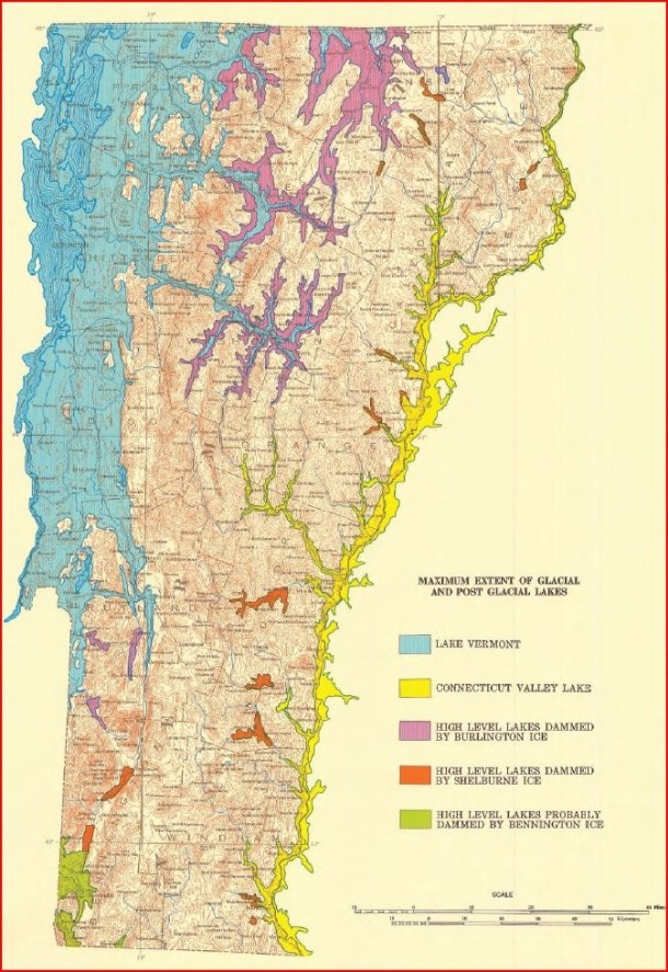 Ancient lakes formed as the ice sheet receded from Vermont.  Image from the Surficial Geology Map of Vermont, courtesy of the Vermont Geological Survey.